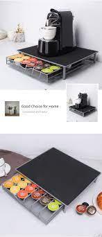 Metal çekmece tipi kapsül kahve depolama tutucular ve raflar kahve makinesi  raf ev ofis organizasyonu|Storage Holders & Racks