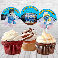 The Smurfs Birthday Cupcake Topper Smurfs Lost Village Cupcake