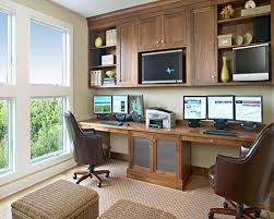 home office technology. white themed cool home office design with traditional brown wood that have sweet technology