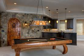 traditional pool table lamps on basement