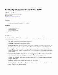 Microsoft Word 2007 Resume Template New Template Homework Help Web