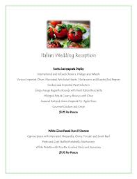 Wedding Meal Planner Grand Italian Wedding Reception Menu Jacksonville Caterer