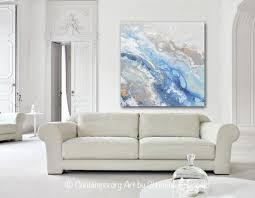 blue white and gray wall art