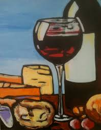 excellent red contemporary oil painting red wine bottle and glass dennis kotelko art
