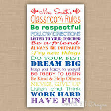 Classroom Decoration Charts For High School Custom Made Classroom Rules Printable Classroom Sign Subway