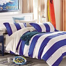 sizes of blue and white striped bedding