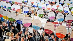 signs announcing the wines of 138 independent wine growers at the lyon wine fair