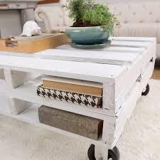 whitewash coffee table. DIY Whitewashed Pallet Coffee Table With Two Storage Shelves (via Thejungalow) Whitewash A