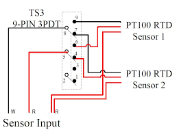 temperature sensors auberins com temperature control solutions wiring example 2 selecting from two pt100 rtd sensors by a toggle switch switching two wires