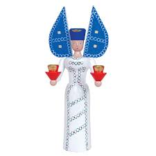 angel of light candleholder blue