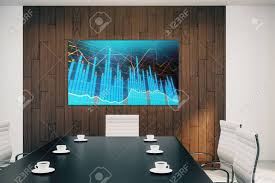 Conference Room Interior With Financial Chart On Screen Monitor