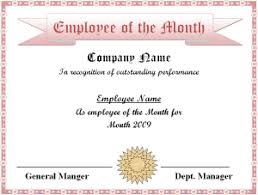 Employee Of The Month Template With Photo Employee Of The Month Certificate Template Excel Xlts