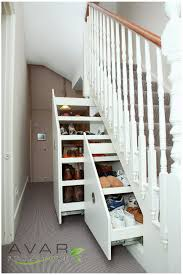 Imposing Small Space Basement With Shoes Racks Organizer Storage Under  Stairs Added Chrome Handle Cabinets As Well As Hidden Storage Ideas