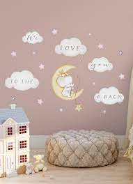 elephant on moon decal baby room wall