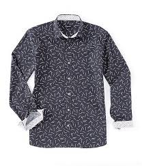 Bugatchi Shaped Fit Matches Long Sleeve Woven Shirt