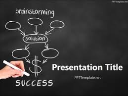Chalkboard Ppt Theme Free Brainstorming Success Chalk Hand Black Ppt Template