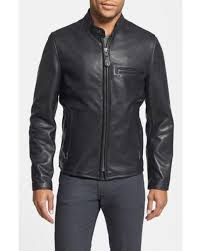 schott nyc black cafe racer oil tanned cowhide leather moto jacket for men lyst