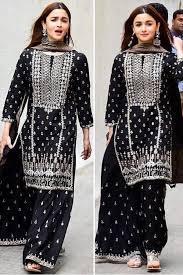 Black Sharara Designs Alia Bhatt Georgette Embroidery Sharara Suit Black Colour