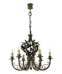 Casa Padrino Barock Schmiedeeisen Kronleuchter 6 Flammig Hängeleuchte Lüster Hängelampe Deckenlampe Burg Schloss Leuchter