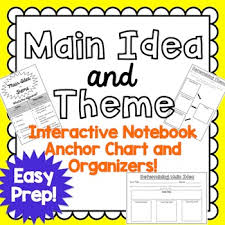 Anchor Chart Notebook Main Idea And Theme Interactive Notebook Anchor Chart And Organizers