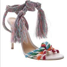 Schutz Shoes Size Chart Schutz S Color Fringe Sandal Heel White Size 11 Nwt