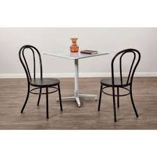 odessa frosted black metal dining chair set of 2 frosted black solid white