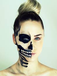 half face skull makeup you