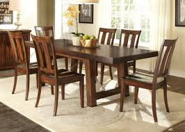 Trestle Dining Room Sets Rectangular Trestle Dining Table With Solids Rubberwood Mahogany Stain Finishjpg