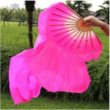 <b>Free Shipping 1pcs New</b> Belly Dance Bamboo Long Silk Fans Veils ...