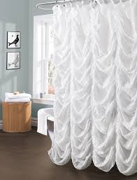white ruffle shower curtain for interesting bathroom decoration ideas