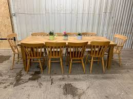8ft farmhouse rustic dining table and 10 country chairs