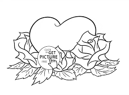 beautiful roses and heart coloring page for kids flower coloring pages printables free
