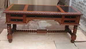 Baroque Desk - Hand Carved Wood and Leather Desk  R Furniture by Olinda  Romani, Lance Reynolds
