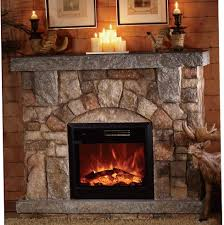 depiction of stone electric fireplace for modern rustic home designs