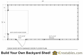 12x24 garage door shed floor plans
