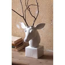 white ceramic table top mounted deer head