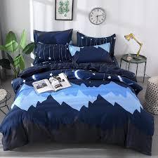 dark blue white starry pattern 100 stylish polyester bedding set duvet cover set bed sheet pillowcase queen king 4 size girls bedding set comforter cover