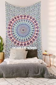 small multi leafs white mandala bohemian wall tapestry hippie indian bedding