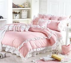 whole cute pink polka dot comforter sets romantic white lace girls princess duvet cover set designer