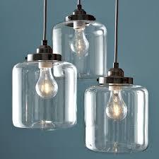 catchy glass jar pendant light 3 jar glass chandelier west elm