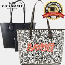 COACH X KEITH HARING F11765 Reversible City Tote Bag  Chalk Black