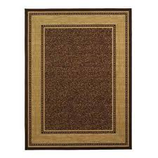 contemporary bordered design brown 8 ft x 10 ft non skid area rug