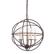 jvi designs rust five light hammered globe chandelier