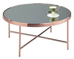aspect fino mirrored round coffee table