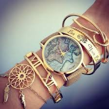 Dream Catcher Gold Bracelet Jewels Watch Bracelets Bracelets Numeral Map Print Map Watch 32