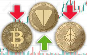 Gold Coins Cryptocurrency Gram Ethereum Bitcoin On The Background
