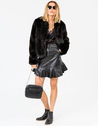 faux fur jacket black