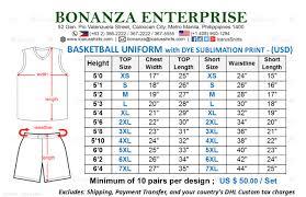 Jersey Size Chart Basketball Jersey Sizes Kasa Immo