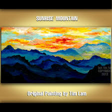 looking at mountain sunrise abstract contemporary huge original acrylic landscape painting 48x24 nature decor fine