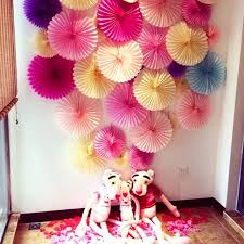 Small Picture Decorative Crafts 30cm 10Pcs Flower Origami Paper Fan Wedding